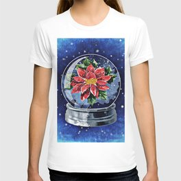Poinsettia in a Snow Globe T-shirt