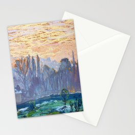 Claude Monet Winter Landscape with Evening Sky Stationery Cards