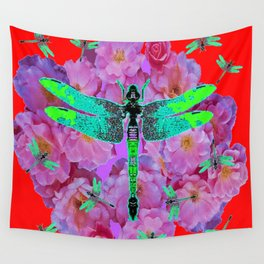 EMERALD DRAGONFLIES  PINK ROSES RED COLOR Wall Tapestry