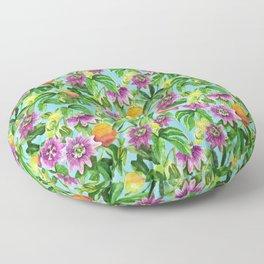 Passiflora vines light blue Floor Pillow