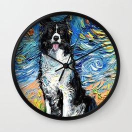 Border Collie Starry Night Van Gogh Wall Clock