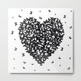 Heart - summer card design, black butterfly on white background Metal Print
