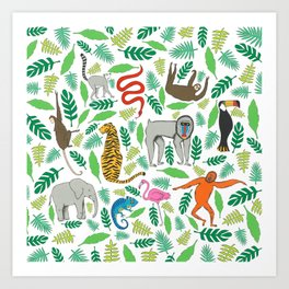 Animals in the Jungle Art Print