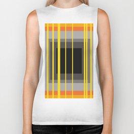 Yellow Stripes and black square pattern Biker Tank