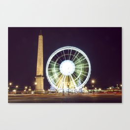 Place de la Concorde, l'Obélisque de Louxor et la Grand Roue Canvas Print