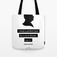 hitchcock Tote Bags featuring HITCHCOCK by betweenthelines