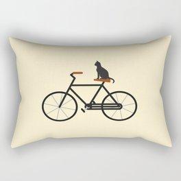 Cat Riding Bike Rectangular Pillow