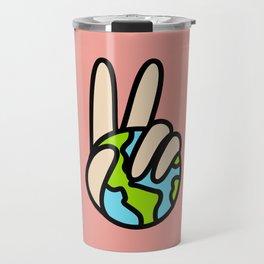 World Peace Planet Earth Symbol V Sign Travel Mug