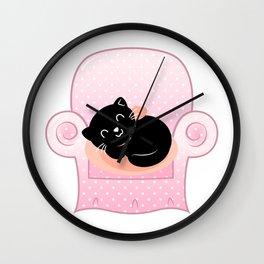 Cat sleeps on Sofa Vector cartoon Illustration Wall Clock