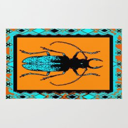 Black Turquoise Stag horn Beetle Western Art Abstract Rug