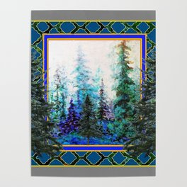 PINE TREES BLUE FOREST  LANDSCAPE TEAL PATTERN Poster
