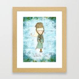 White Tea Girl Framed Art Print
