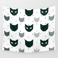 because cats Wall Tapestries featuring Cats Cats Cats by Be Kindly