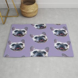 light purple dog pattern cute puppy french bulldog Rug