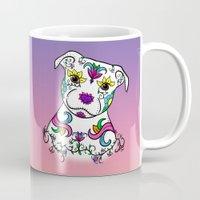bull terrier Mugs featuring Staffordshire Bull Terrier Sugar Skull by CraftyK9