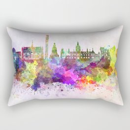 Dundee skyline in watercolor background Rectangular Pillow