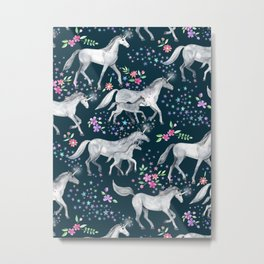 Unicorns and Stars on Dark Teal Metal Print