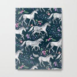 Unicorns and Stars on Dark Teal Metal Print