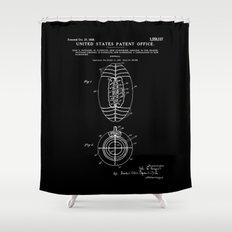Football Patent - Black Shower Curtain