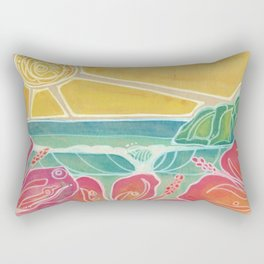 Triple Hibiscus Surf Art by Lauren Tannehill Art Rectangular Pillow