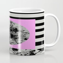 Stripes In Space - Geometric Abstract In Block Pink, Black And White And Black And Grey Stripes Coffee Mug