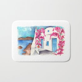 Bougainvillea in Cyclades Bath Mat