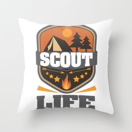 Scout Life Camping Scouting Leader Forest Adventure Throw Pillow