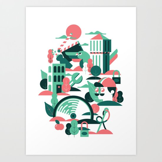 A sunny morning in Milan Art Print
