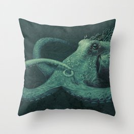 Coral Octopus Throw Pillow