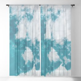 Sky Blue - Clouds Skyscape Photography Sheer Curtain