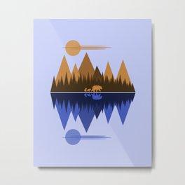 Bear & Cubs Blue Metal Print