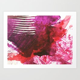 You set me on fire: a vibrant, colorful mixed media piece in red, purple, black and white Art Print