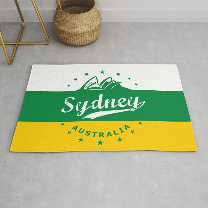 Sydney City Australia Green Yellow Poster Rug By Alma Design