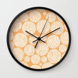 Cotton Ball Flower Pattern Jolly Orange Color Design Wall Clock