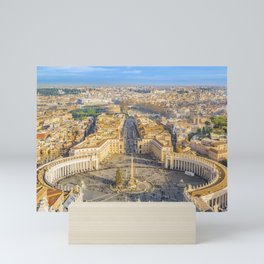 Rome Aerial View from Saint Peter Basilica Viewpoint Mini Art Print
