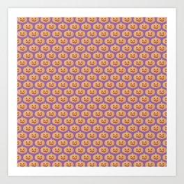 Cute Jack-O-Lantern Pattern on Purple Background Art Print