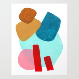 Minimalist Abstract Fun MidCentury Colorful Shapes Teal Blue Pastel Red pink Geometric Organic Shape Art Print