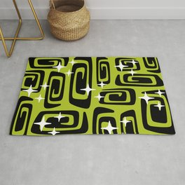 Mid Century Modern Cosmic Galaxies 435 Black and Chartreuse Green Rug