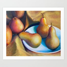 Golden Bosc Pears in White Bowl  Art Print
