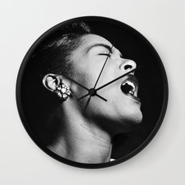 Billie Holiday, 1940's black and white photograph / photography / photographs Wall Clock