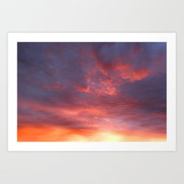Twilight sky in glowing clouds Art Print