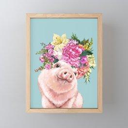 Flower Crown Baby Pig in Blue Framed Mini Art Print