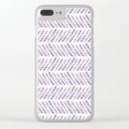 Herringbone - in purple watercolour Clear iPhone Case