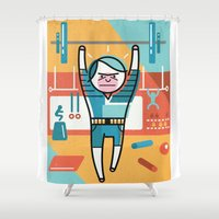 crossfit Shower Curtains featuring Crossfit by Jack Hornady Illustrations