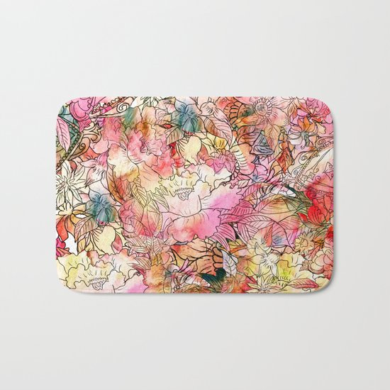 Summer Flowers | Colorful Watercolor Floral Pattern Abstract Sketch Bath Mat