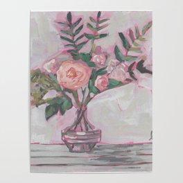 Pops of Hot Pink Florals Poster