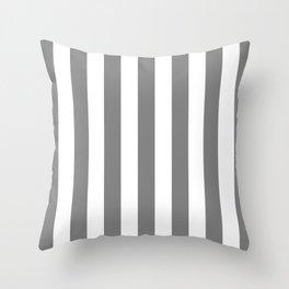 Vertical Stripes (Gray/White) Throw Pillow
