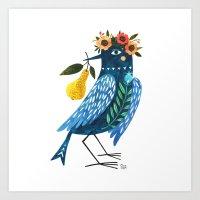 oana befort Art Prints featuring BLUE BIRD by Oana Befort