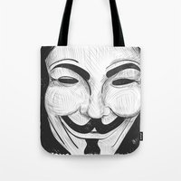 anonymous Tote Bags featuring Anonymous by nicole carmagnini