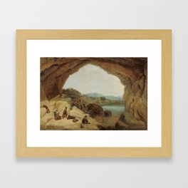 Manuel Barrón y Carrillo , Ambushing a Group of Bandits at the Cueva del Gato 1869 Framed Art Print